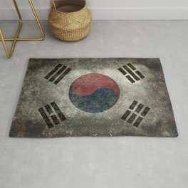National flag of South Korea, officially the Republic of Korea, Vintage Desaturated version to scale Rug