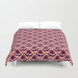 Abstract Ocean Wave Geometric  Square - Blue & Red Nautical Ocean Pattern Duvet Cover