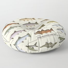 Illustrated Western Game Fish Identification Chart Floor Pillow