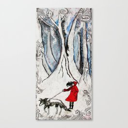"""""""'Lil Red Walking Her Wolf"""" Canvas Print"""