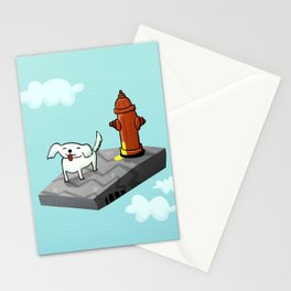 Dog in the sky peeing - Illustration Stationery Cards