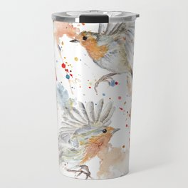 "Watercolor Painting of Picture ""Robins"" Travel Mug"