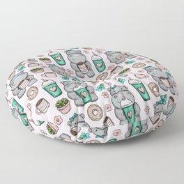 Cute Little Hippo, Hippopotamus, Donuts and Coffee, Pink Print For Girls, Little Girls, Tween Girls Floor Pillow