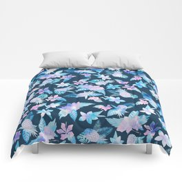 Tropical navy blue pink teal watercolor fruit floral Comforters