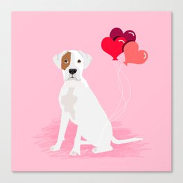 Boxer dog white brown spot lover valentines day heart balloons must have gifts for Boxers Canvas Print