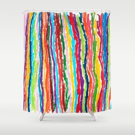 Coloured crayon stripes Shower Curtain