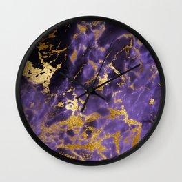 Ultra Violet Gold Marble Metallic Foil Wall Clock