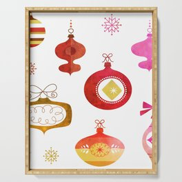 Red Vintage Ornaments Serving Tray