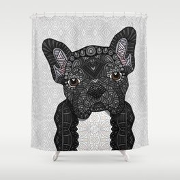 Black Frenchie 001 Shower Curtain