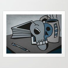 Skull, Book and Coffee Art Print