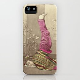 Japanese Woman Standing on her Head by Raimund von Stillfried iPhone Case