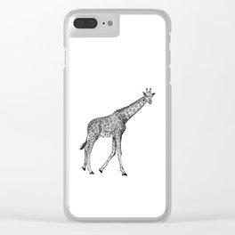 Giraffe Ink Illustration Clear iPhone Case