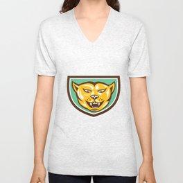 Puma Mountain Lion Head Shield Woodcut Unisex V-Neck
