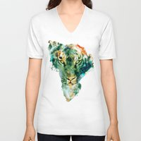 wildlife V-neck T-shirts featuring African Wildlife by RIZA PEKER