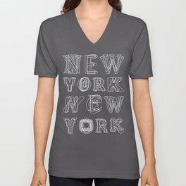 New York black and white Unisex V-Neck