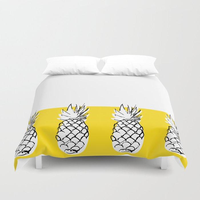 Ananananananananas on a yellow background Duvet Cover