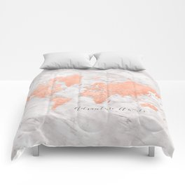 "Adventure awaits world map in rose gold and marble, ""Janine"" Comforters"