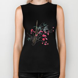 bamboo and red plum flowers Biker Tank