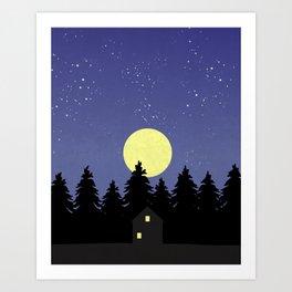 Starry Moonlit Night Sky Forest Art Print