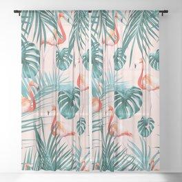 Tropical Flamingo Pattern #3 #tropical #decor #art #society6 Sheer Curtain