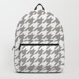 Houndstooth Checkered Grey & White Pattern Backpack