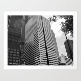 Black & White Close up View of Skyscraper Art Print