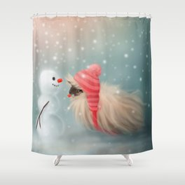 Snowy & Piggy Shower Curtain