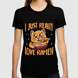 Cute & Funny I Just Really Love Ramen Anime Cat T-shirt