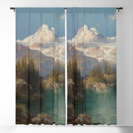 Snow-capped Rocky Mountains landscape painting by Thomas Moran Blackout Curtain