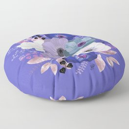 Anemones & Gardenia Blue bouquet Floor Pillow