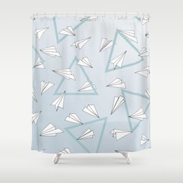 Paper Planes - Blue Shower Curtain