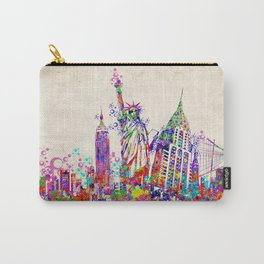 New York skyline colorful collage Carry-All Pouch