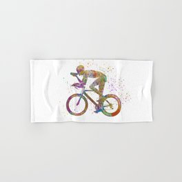 Cyclist competing 01 in watercolor Hand & Bath Towel