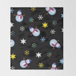 Snowflakes & Snowman_E Throw Blanket