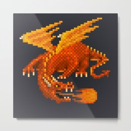 Pixel Fiery Dragon Metal Print