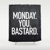 xbox Shower Curtains featuring Monday You Bastard by Text Guy