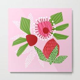 Flowers on pink Metal Print
