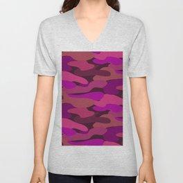 Camo-licious Collection: Strawberry Daiquiri Camouflage Pattern Unisex V-Neck