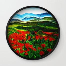 poppy field 2 Wall Clock