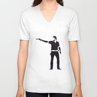 rick grimes V-neck T-shirts featuring Rick by the minimalist