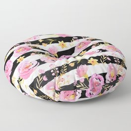 Delicate Poppy Pattern On Stripes 2 Floor Pillow