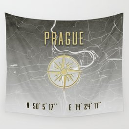 Prague - Vintage Map and Location Wall Tapestry