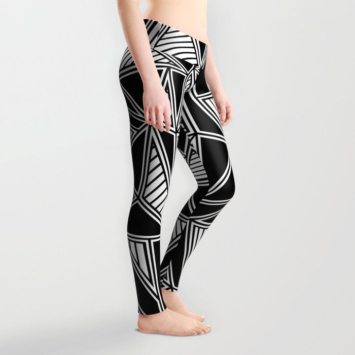 Abstract Outline Lines Black Leggings