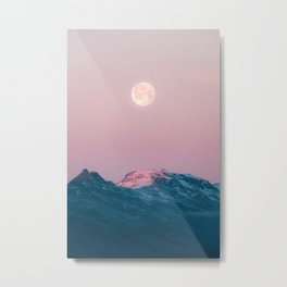Moon and the Mountains – Landscape Photography Metal Print