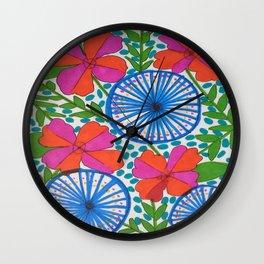 Flowers and Pinwheels Jungle Print Wall Clock