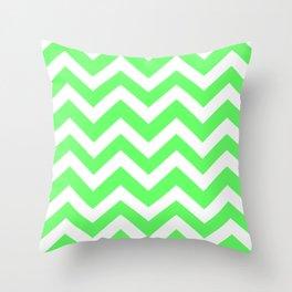 Screamin' Green - green color -  Zigzag Chevron Pattern Throw Pillow