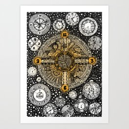 Clocks Lyrical Doodle Art Print
