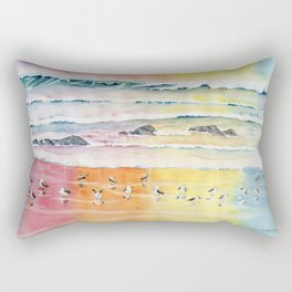 Sandpipers on Beach Rectangular Pillow