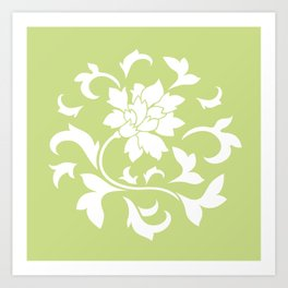 Oriental Flower - Daiquiri Green Circular Pattern Art Print