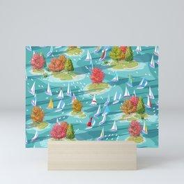 Autumn Lake Sailboat Regatta Mini Art Print